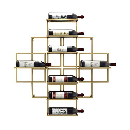 T-T-JIAZI , Botellero De Metal Forjado De Hierro De Pared Estante del Vino Montada Creativas Estante del Vino, Estante del Vino, La Decoración del Hogar 10 Botellas De Europa - (Color : Gold)