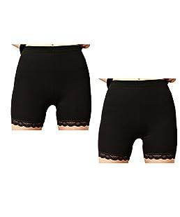 Newin Star Ultra Cuissard Leggings Mince de Dentelle Noire -Femme Garniture M Moyen 2X Noir Dentelle