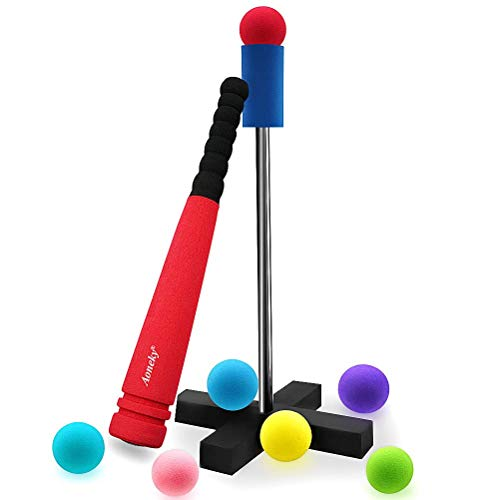 Aoneky Mini Foam Tball Set for Toddlers - Carry Bag Included - Best Baseball T Ball Toys for Kids Age 3 Years Old - Upgraded Version