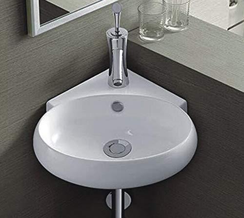 Omeere Keramikwaschbecken Eckwaschbecken weiß, 39 x 37,5 / Waschbecken Keramik Wandmontage Aufsatz oval halbkreis Bad