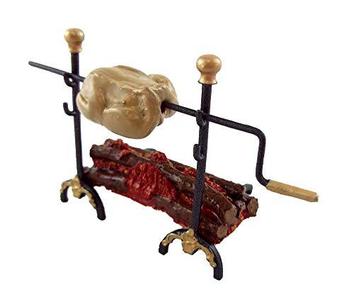 Melody Jane Poupées Miniature Lumière Électrique Victorien Log Fire avec Torréfaction Spit