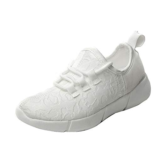 Niños Fibra Óptica LED Zapatos de Luz para Mujeres Hombres Zapatillas Luminosas para Festivales Fiesta de Navidad Baile USB Carga Ligero Zapatillas de Moda para Niños Niñas, color Blanco, talla 27 EU