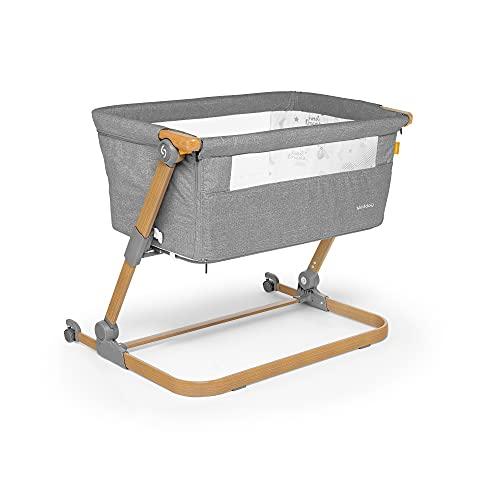 skiddou Babybett Natt 3in1 Beistellbett Reisebett Zustellbett, freistehendes Babybett für Kleinkinder, höhenverstellbar, zusammenklappbare leichte Aluminium Konstruktion, grau, holzfarbe