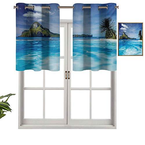 Cortinas opacas con aislamiento térmico para decoración del hogar, con ojales y piscina e isla distante, diseño hawaiano, juego de 2, 137 x 91 cm para ventana del sótano