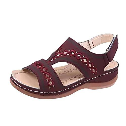 URIBAKY - Sandalias de mujer con tirantes, transpirables y elegantes, cómodas, planas, Rojo (rojo), 39 EU