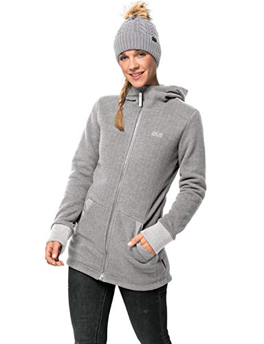 Jack Wolfskin Damen PATAN Long Jacket W Fleecejacke, Grey Haze, XL