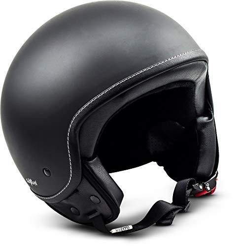 "Soxon® SP-301 ""Night"" · Jet-Helm · Motorrad-Helm Roller-Helm Scooter-Helm Moped Mofa-Helm Chopper Retro Vespa Vintage Pilot Biker Helmet Brille Visier · ECE 22.05 Schnellverschluss Tasche XL (61-62cm)"