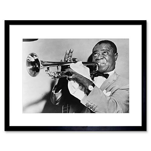 Wee Blue Coo Gerahmter Kunstdruck Photo Music Jazz Louis Armstrong spielt Trompete Jazz