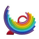happygirr Rainbow Stacking Toys, Cama Montessori, Rainbow Stacker, 12 colores Rainbow Stacking, juguete educativo para niños