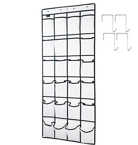 TidyMaster - Organizador de zapatos para puerta, 24 bolsillos, organizador de zapatos para colgar con 4 ganchos de puerta para dormitorio, armario, baño de 149 x 54,8 cm, color blanco