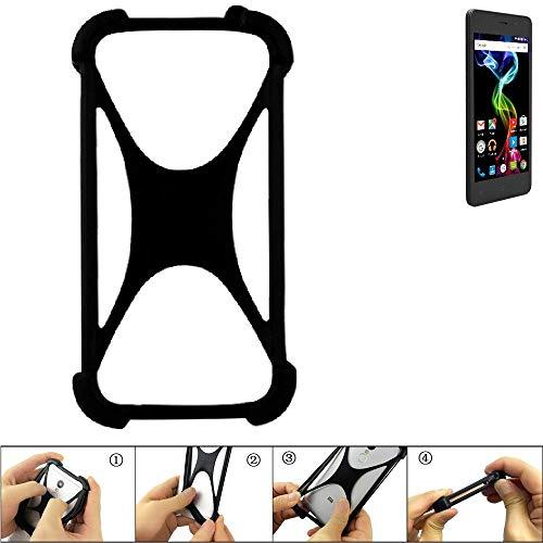 K-S-Trade Handyhülle für Archos 45d Platinum Schutz Hülle Silikon Bumper Cover Case Silikoncase TPU Softcase Schutzhülle Smartphone Stoßschutz, schwarz (1x)