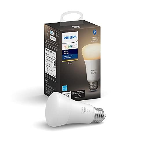 Philips Hue 476861 A19 Smart Light Bulb, Single Pack, White
