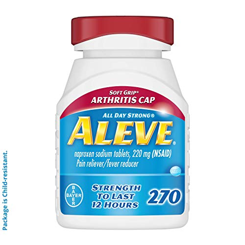 Aleve Soft Grip Arthritis Cap Tablets, Fast Acting All Day Pain Relief for Headaches, Muscle Aches, and Fever Reduction, Naproxen Sodium Capsules, 220 mg, 270 Count