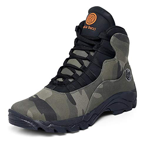 Bacca Bucci® Men's Wolf Comfortable Hiking Boots with Adaptive Smart Cushioning Non Slip hi-top Boots for Hiking, Camping, Trekking, Fitness & Trail Walk-Camouflage Green