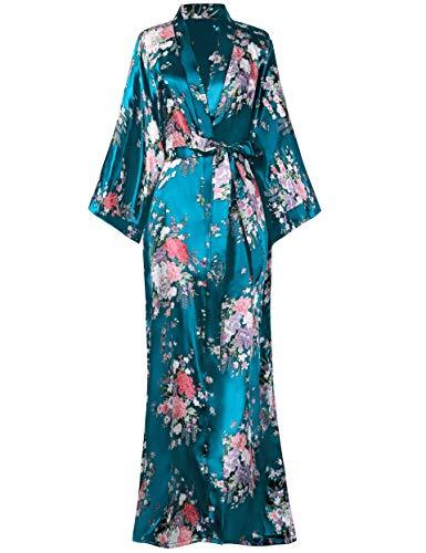 BABEYOND Damen Morgenmantel Maxi Lang Seide Satin Kimono Kleid Blütenkirsche Muster Kimono Bademantel Damen Lange Robe Blumen Schlafmantel Girl Pajama Party 135 cm Lang (See Grün)