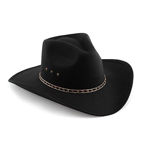 Western Pinch Front Faux Felt Cowboy Hat - Black - 7 3/4