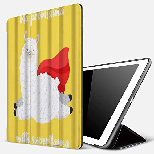 iPad 9.7 inch 2017/2018 Case/iPad Air/Air 2 Cover,Llama Alpaca No Problem with Superlama Jumping with Red Cape Cloak Yellow Background Cut,PU Leather Shockproof Shell Stand Smart Cover with Auto Wake
