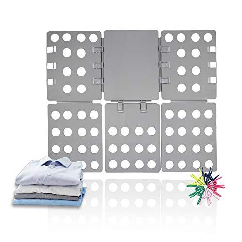 ValueHall Doblador de Ropa 56 x 68 cm Tabla para Doblar Doblador de Camisetas Adjustable Carpeta de Ropa para Adulto o Infantil Camisetas Pantalones Toallas V7031A (Gris)