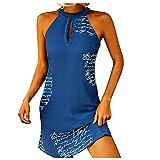 Julhold Vestido sexy de cuello halter sin mangas con letras impresas para mujer, vestido de verano y fiesta, sin espalda, club de Streetwear, azul, M