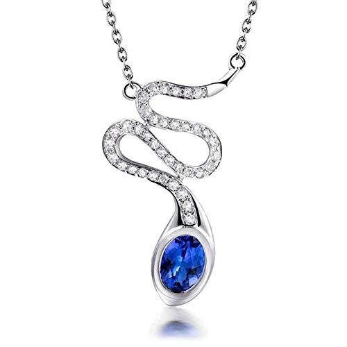 ButiRest Joya auténtica de oro para mujer, collar con forma de serpiente, oro blanco 750 de 18 quilates con corte ovalado de 0,75 ct azul tanzanita IF y diamante de 0,24 ct