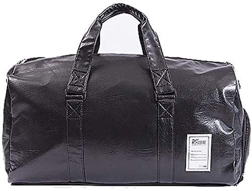 AKwwmy Deportes Gimnasia Bolsa Personalidad Deportes Viajes Viajes Duffel Bag Top PU Bolso de Cuero Totes para Hombres, Bolsa de Gimnasio (Color: Negro, Tamaño: 5 Mengheyuan
