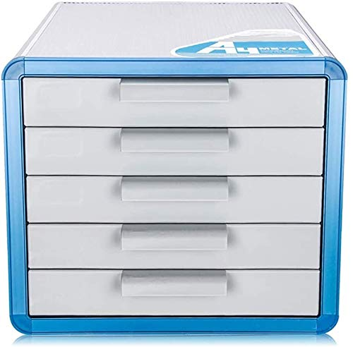 Kaidanwang Desktop File Cabinet Multi-Layer Storage For Office 5 Drawer Aluminum Alloy Lock Locker Blue 28.6 * 34.6 * 25.3cm