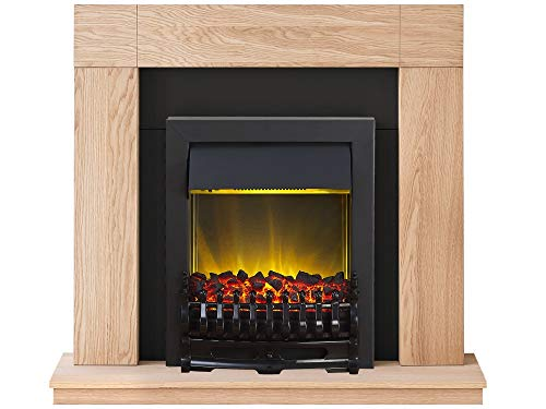 Adam Malmo Fireplace Suite in Oak with Blenheim Electric Fire in Black, 39 Inch