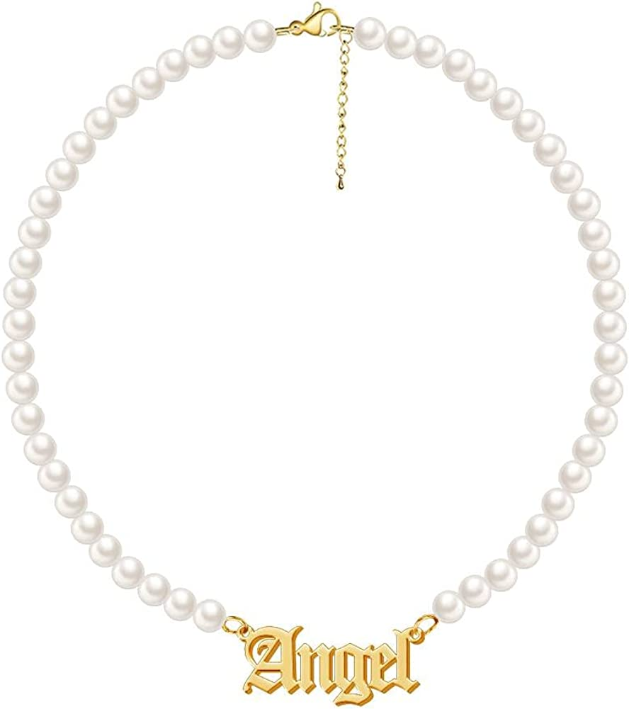 Dreamdecor Pearl Name Necklace for Women, Custom Nameplate Choker Necklace Dainty Personalized Pearl Jewelry Gifts for Birthday