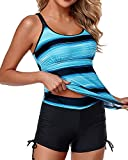 Yonique Womens Tankini Swimsuits Athletic Two Piece Tummy Control Bathing Suits with Shorts Modest Tank Tops Gradient Blue Stripe L