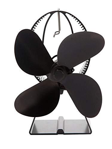 biteatey - Ventilador para Chimenea, Estufas de leña, Estufas, Funcionamiento silencioso, 4 aspas, Ventilador de Chimenea, sin batería, Respetuoso con el Medio Ambiente