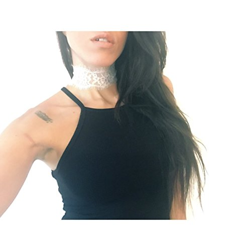 White or black lace choker handmade with adjustable chain Necklace for women and girls