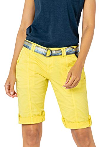 Fresh Made Damen Bermuda Shorts mit glänzendem Gürtel Yellow M