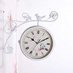 Double Sided Wall Clock Paddington Station Clock Little Bird Design Wrought Iron Train Clock 360 Degree Rotate for Indoor Garden, Hanging Décor, 9.6,White