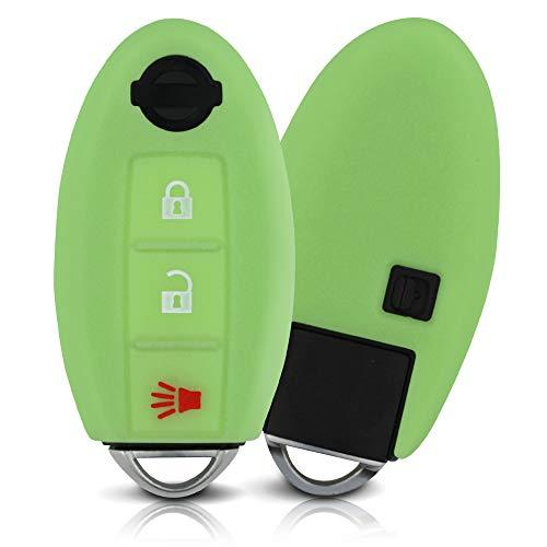 ASARAH Cover chiavi auto PREMIUM in silicone compatibile con Nissan, Copertura protettiva per chiavi dell'auto, Copertina per tipo di chiave 3BKL - Luminoso verde