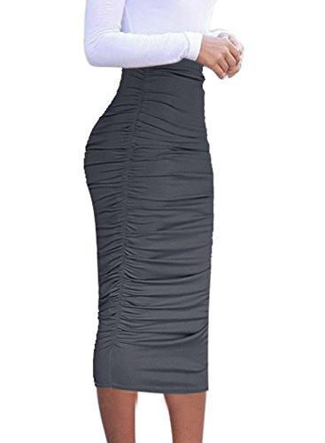 VFSHOW Womens Elegant Grey Ruched Ruffle High Waist Pencil Midi Mid-Calf Skirt 2277 Gry S