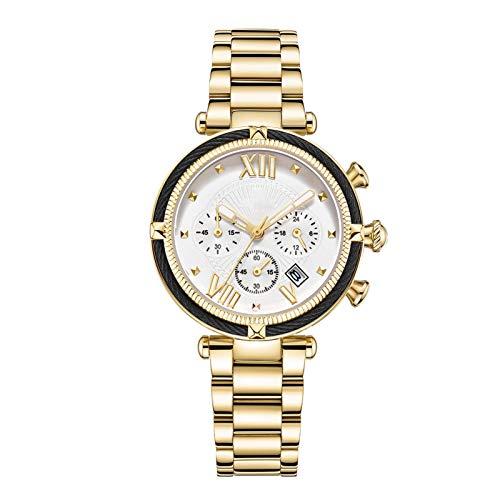 QHG Relojes para Mujer Banda de Cuero a Prueba de Agua Velada de la señora de Negocios Femenina Reloj de Pulsera Reloj Movimiento de Cuarzo Gran dial (Color : E)