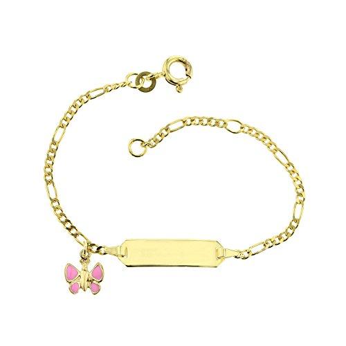 JC Trauringe 333 Goud Baby ID Armband Kinderen Goud Armband 14 cm met Vlinder Hanger roze I Figaro Armband met gravure Christening Armband Goud Naam Armband gemaakt in Duitsland I 5.5305210