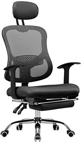 Elegante silla oficina, silla giratoria Silla de malla ejecutiva con reposapiés   Silla de escritorio giratorio ergonómico con altura ajustable y soporte para la cabeza   Adecuado para comercial, negr