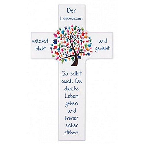 MaMeMi Kinder- Holzkreuz: 'Lebensbaum' -15 cm- in Weiß lackiert