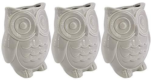 Hochwertige Luftbefeuchter 3-teiliges Set - 260ml - für Heizung aus Keramik - glänzend glasiert - Wasserverdunster Verdamper verdunster Klima - Eule - grau