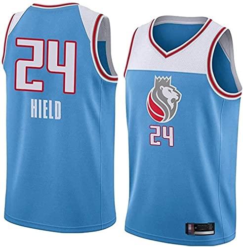 NBA Basketball Jersey Sacramento Reyes 24# High HIRN FRIERE Tela Classic Retro Moda Vestima Sin Mangas Camiseta Unisex,Azul,M170~175cm