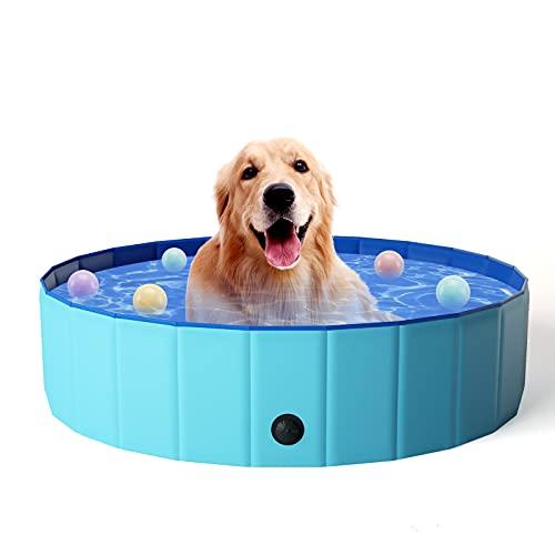 KORIMEFA Hundepool für Hunde, Swimmingpool Hund Planschbecken Schwimmbecken, Faltbarer Pool Badewanne Wasserbecken, Klappbares Haustier-Duschbecken (120*30CM)