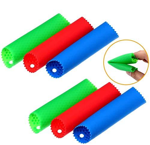 TADAE 6 PCS Silikon Knoblauch Schäler Knoblauch Peeling Tube Küchengeräte, 3 Farben