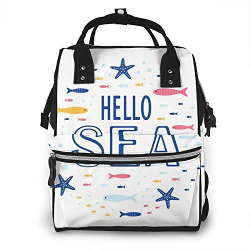 UUwant Sac à Dos à Couches pour Maman Cute Creative Cards Templates Ocean Theme Diaper Bags Large Capacity Diaper Backpack Travel Nappy Bags Mummy Backpackling