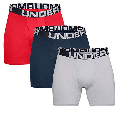 Under Armour Herren schnelltrocknende Boxershorts, 6inch - 3 Pack, Mehrfarbig (Rot ,Grau and Blau), Large