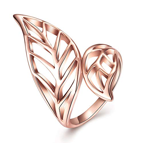 Thumby-ring Vrouwelijke Pop Dans Tin Legering Plant Platte Ring Mode K Goud Blad Ring