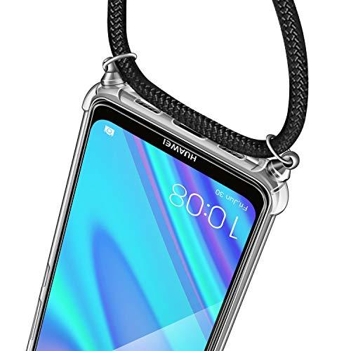 AROYI Handykette Handyhülle + Panzerglas Schutzfolie für Huawei Y7 2019 Hülle mit Kordel zum Umhängen Necklace Hülle mit Band Schutzhülle Transparent Silikon Acryl Case für Huawei Y7 2019 -Schwarz - 3