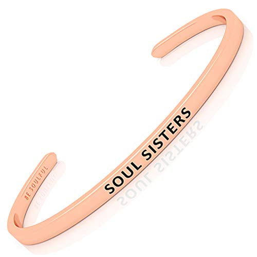 BE SOULFUL Armreif mit Gravur für Damen - SOUL SISTERS - Armband für Lieblingsmenschen - Freundschaftsarmband - Schutzengel rosegold
