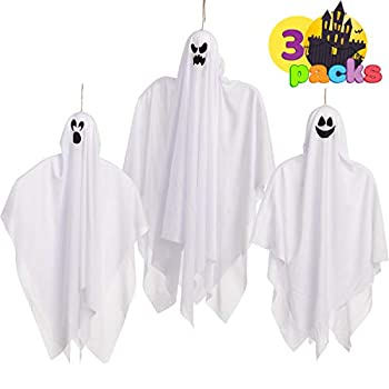 Halloween Hanging Ghosts Glow in the Dark 3 Pack Mix Size  for Halloween Party Decoration Cute Flying Ghost for Front Yard Patio Lawn Garden Party Décor and Holiday Halloween Hanging Decorations