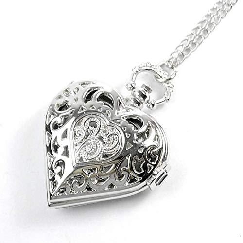 J-Love Reloj de Bolsillo Retro, Elegante Reloj de Bolsillo de Cuarzo con Forma de corazón Hueco con Collar de Cadena de suéter Regalo para Mujeres y niñas